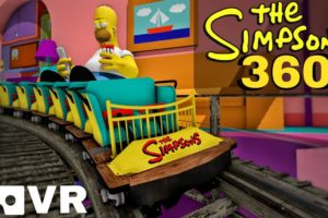 🟨 THE SIMPSONS 360 VR Roller Coaster POV immersive virtual Reality 4K 3D ride